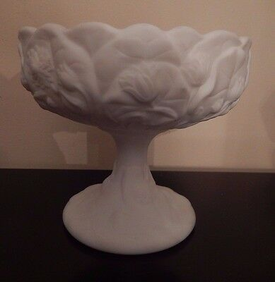 """Vintage Fenton White Satin Water Lily Footed Dishes  7 1/2""""H 5 7/8"""" Dia"""