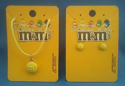 M&m's Yellow Character Earrings & Necklace Set