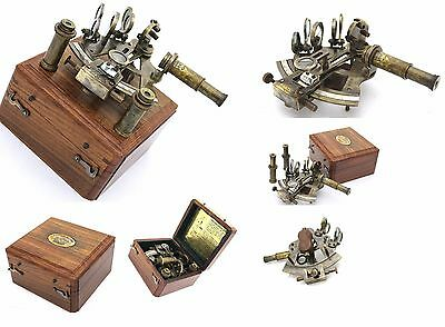 Antique Brass Navigation Sextant in Wooden Box & Two extra Telescope
