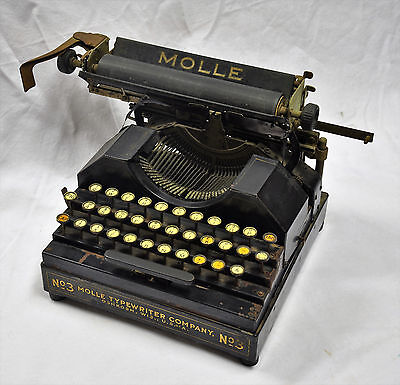 Molle 3 typewriter Mfg'd 1921 Antique Less Than 50 Functional In Existence #7476