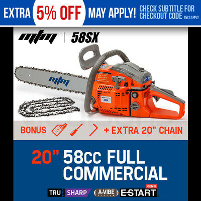 "NEW MTM 58cc Petrol Commercial Chainsaw - 20"" Bar E-Start Pruning Tree Chain Saw"