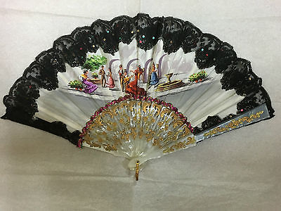 European Mother Of Pearl With Cloth & Black Lace Fan