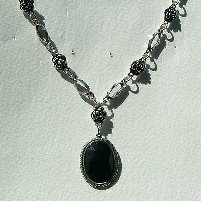 Victorian Style Black Dark Silver Plated Rose Pendant Necklace Rs