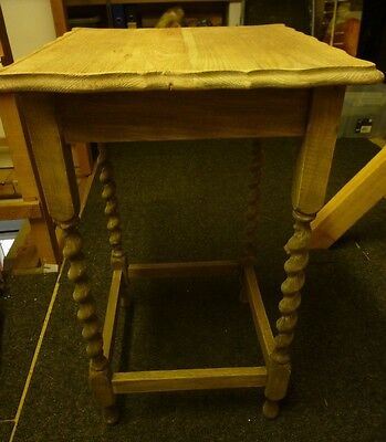 Vintage Oak Table With Barley Twist Legs