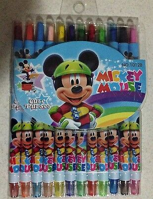 Mickey Mouse 12 x  Crayons Pack Art Craft BN