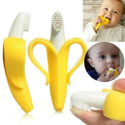 Portable Silicone Banana Toothbrush Safe Baby Teether Teething Toothbrush Toy JJ