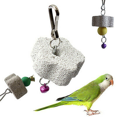 Hanging Chew Stone Bites Toy Cage Swing Teeth Grinding Tool For Parrot Pet Bird