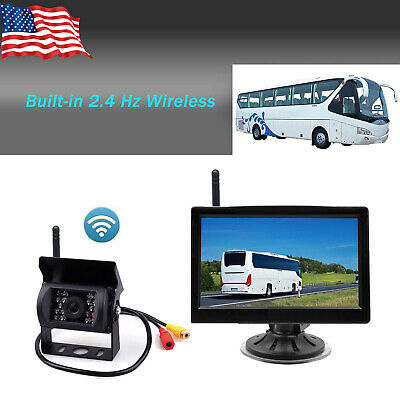 "Wireless IR Rear View Backup Camera Night Vision +5"" Monitor for RV Truck Bus"