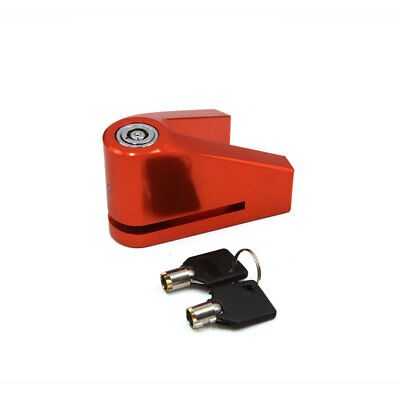Motorcycle Motorbike V Shape Anti Theft Safety Brake Disc Lock Orange w 2 Keys