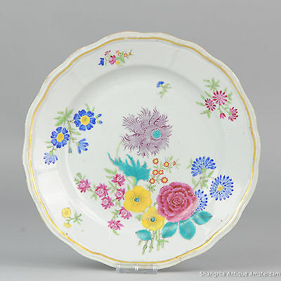 Antique 18C Chinese Porcelain Giles Style Famille Rose Decoration Plate Qing