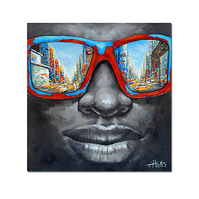 Street Wall Art African Men With Sunglasses50% Hand Painted Canvas Oil Painting