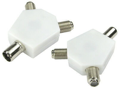 Nickel Adaptor Tv Aerial Male - 2 X F Conn Female White