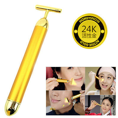 24k Gold Vibration Facial Slimming Beauty Roller Massager Stick With Battery