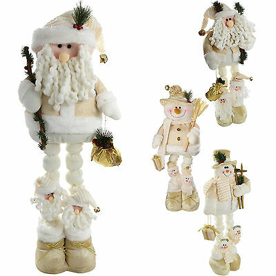 free standing santa snowman extendable legs christmas decoration creamgold - Free Standing Christmas Decorations
