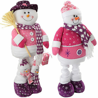 Free Standing Snowman Christmas Decoration Hot Pink/Purple Small Large