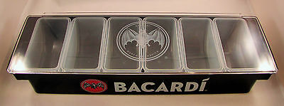 NEW- Bacardi Bar 6 Condiment Garnish Tray Caddy- Great For Home Bar or Party!!!
