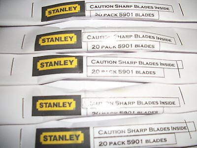 Stanley Craft Knife Blades 5901 Pack of 20 Blades -1st Class Next Day Post