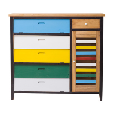 Mobili Rebecca® Chest of Drawers Sideboard 6 Drawer 1 Door Wood Coloured Modern