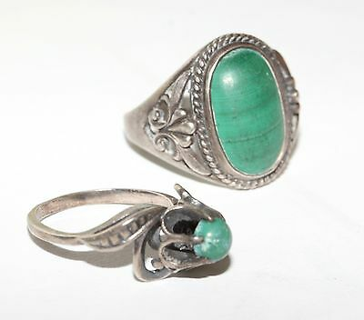 TWO Vintage MALACHITE stone Last century Rings Silver USSR Antique SIZE 7 and 5