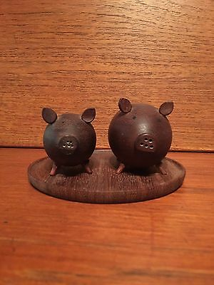 Teak MCM Mid Century Modern Pig Piglet Salt And Pepper Shakers