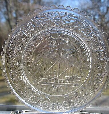 Sandwich Crystal Glass Ben Franklin Ship Mini Plate Coasters
