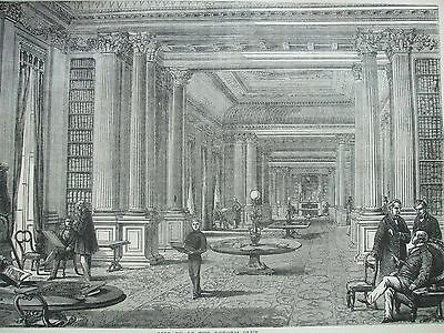Antique Print C1875 Library Of The Reform Club Engraving London Old & New