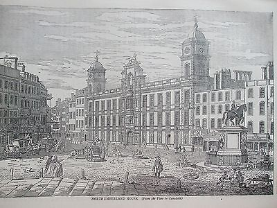 Antique Print C1875 Northumberland House London Engraving London Old & New