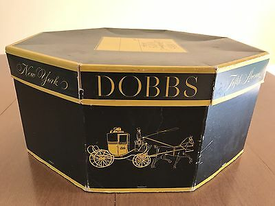 Vintage DOBBS Fifth Avenue Hats New York Octagonal Hat Box Black and Yellow