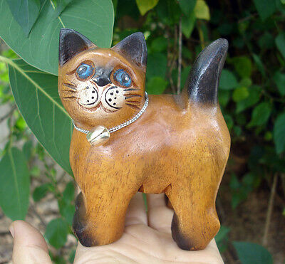 Hand Carved Wooden Cat Figurine Crafted Wood Kitty Kitten handmade stand gift 1a
