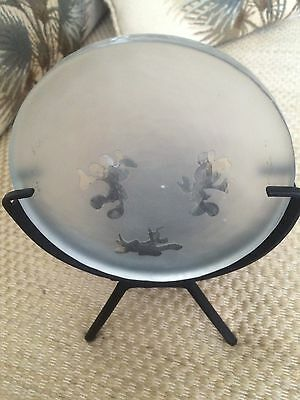 Disney Tea light Candle Holder Glass disk with Black stand Mickey Minnie Pluto