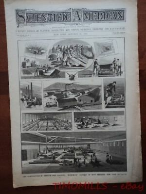 1882 Brunswick Tannery Leather Factory Otto Engine Scientific American Antique