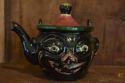 Vintage Black Americana Thames Clown Teapot Red Clay