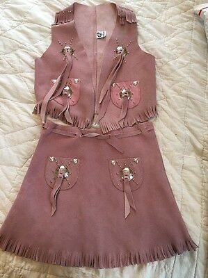 Suede Leather Girls Cowgirl Outfit