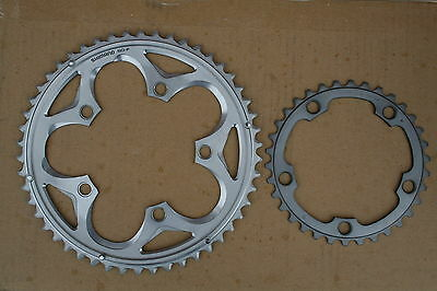 Shimano 105 5700 5750 10-speed Road Bike Chainrings - 50T & 34T 110 BCD - Silver