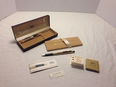 Cross 10KT Gold Filled/Rolled Gold Fountain Pen with 14K Nib NOS