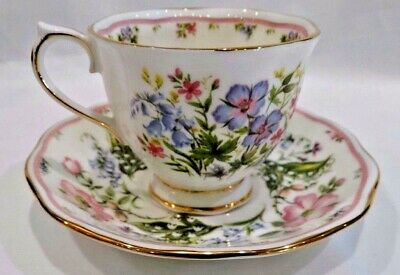 Royal Albert Country Bouquet Hazy Shade Bone China England Footed Cup & Saucer