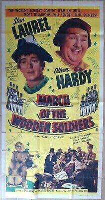MARCH OF THE WOODEN SOLDIERS (1950) - US 3 Sheet movie poster, Laurel and Hardy