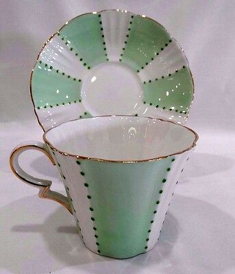 Royal Standard Mint Green/White China Cup & Saucer