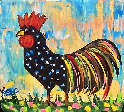 "ROOSTER~chicken~Mini 3""x 3"" wood painting~KENO FOLK ART outsider~COASTWALKER~USA"
