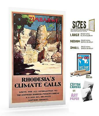Zimbabwe Rhodesia/'s Climate Calls 1950s Vintage Style Travel Poster 16x24