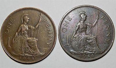 A Lot Of (2) Uk(Great Britain) Large One Cent Copper Coins!!! 1945, 1946