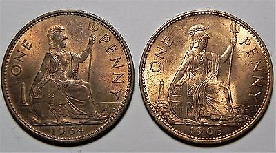 A Lot Of (2) Uk(Great Britain) Large One Cent Copper Coins!!! 1964, 1965