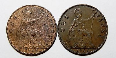 A Lot Of (2) Uk(Great Britain) Large One Cent Copper Coins!!! 1935, 1936