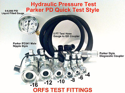 Hydraulic Pressure ORFS Test Kit 6,000 PSI Parker Style Fast Test Coupler Tester