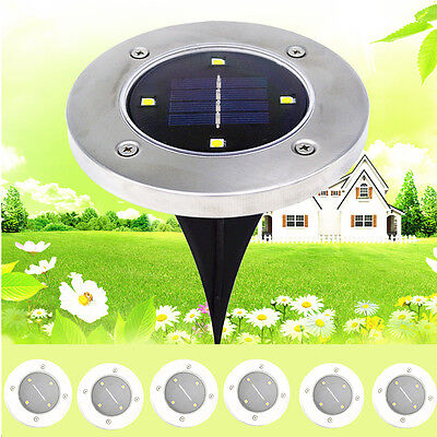 12x Solar Powered 4LED Buried Inground Recessed Light Outdoor Walkway Lights