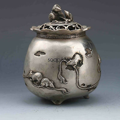 Chinese OLD Tibet Silver copper Handmade Carved Mouse Incense Burner &Lid MRY23