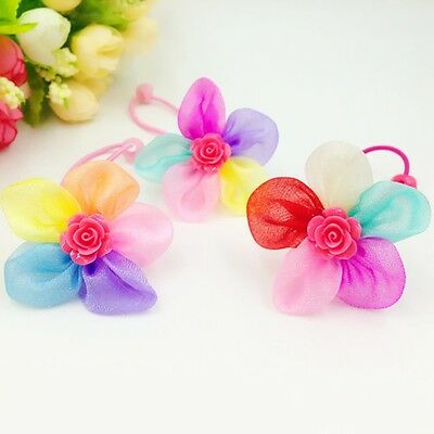 2 pcs Girls Colorful Flower Ponytail Holder Elastic Rubber Band Hair Ties Ropes
