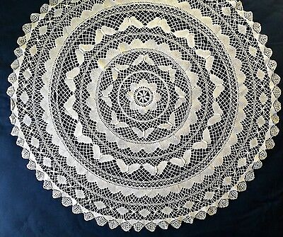 Vintage handmade Cluny bobbin lace round table cover BUTTERFLIES