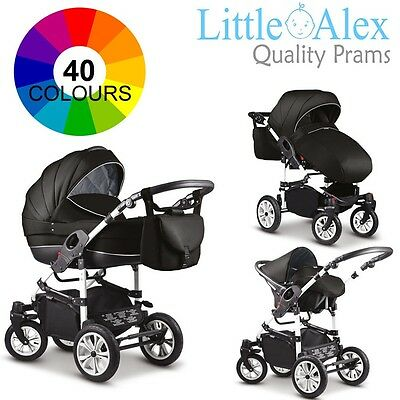 3 in 1 Baby Pram Stroller Pushchair Car Seat Carrycot Travel System Buggy 40CLRS