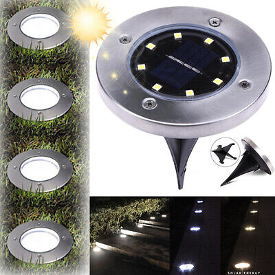 6X-Stainless 4LED Solar Powered Light Buried Garden Yard Fence In ground Lamp AU